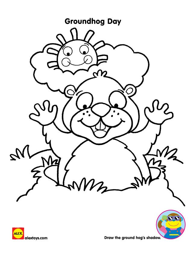 Use this groundhog day printable to make your prediction by drawing a shadow or just coloring him in