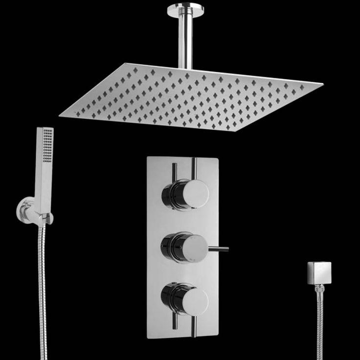 Kubix 2-weg thermostatisch doucheset zonder omstelkraan (douchekop 40x 40cm)