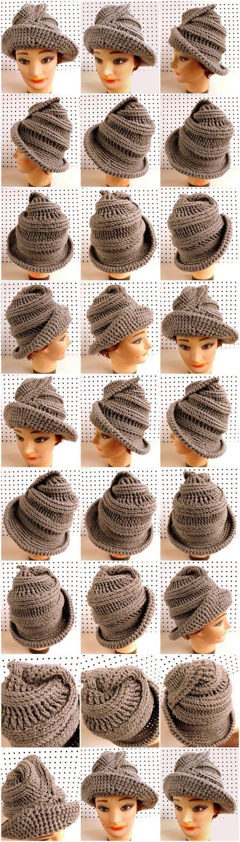 VIRGINIA Crochet Steampunk Wide Brim Hat in Gray #TrendyHatsForWomen