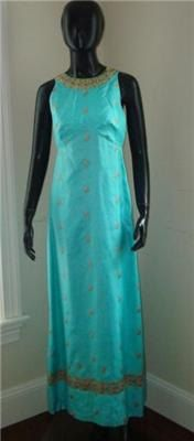 vintage TINA LESER original aqua silk sari gown by UrbanAnthro, $400.00