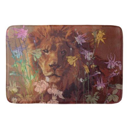 African lion Large Bath Mat - animal gift ideas animals and pets diy customize
