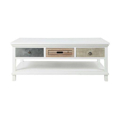 Table basse en bois blanche L 120 cm