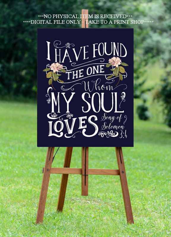 navy wedding sign, printable wedding sign,I have found the one whom my soul…