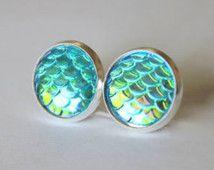Mermaid Scale Earring Posts, Blue Mermaid Earring Studs, Mermaid Jewelry, Blue Mermaid Jewelry, Mermaid Scale Jewelry, Nautical Earring