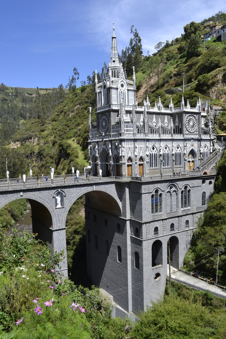 Las Lajas Cathedral located in southern Colombia