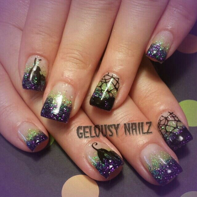 Haloween nail design... even if their was no cat or spiderweb desighn tat would b pretty!