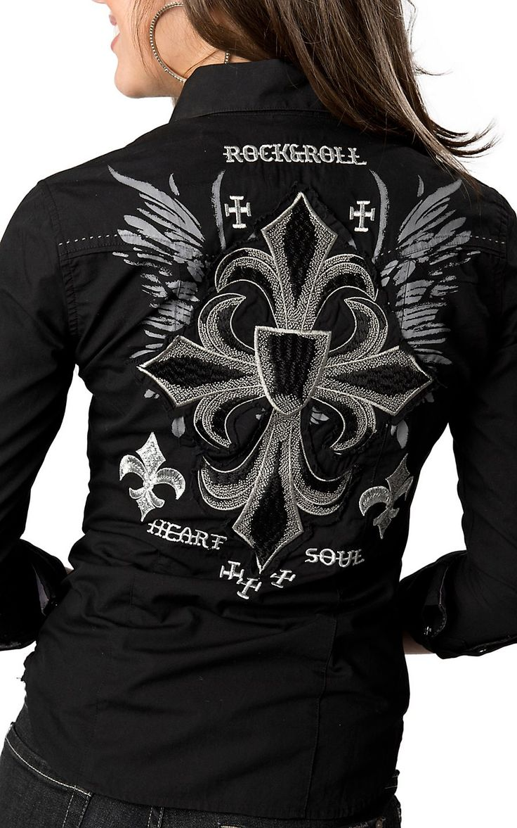 Rock & Roll Cowgirl® Womens Black with Silver Winged Fleur Cross Embroidery Long Sleeve Western Shirt | Cavenders Boot City