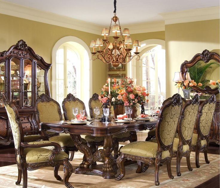 Chateau Beauvais Dining Room The influence of French Rococo design comes to  life with the signature pierced carvings, intricate inlaid marquetry, ...