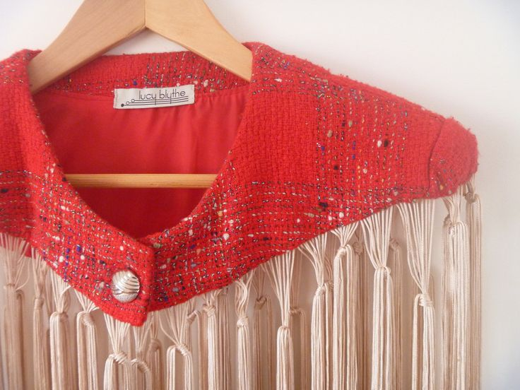 Fringed Cape Upcycled fashion by Melbourne based fashion designer lucy blythe