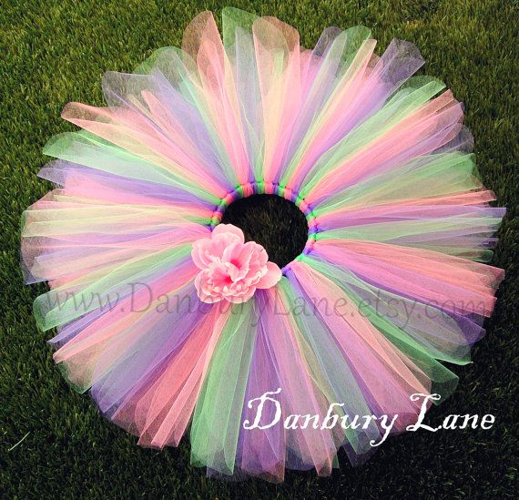 SOOO PRETTY! It's PERFECT BUTTT i need it to be a DRESSSS!!! ):  Pink Baby tutu with purple and green 1st Birthday by DanburyLane, $21.95
