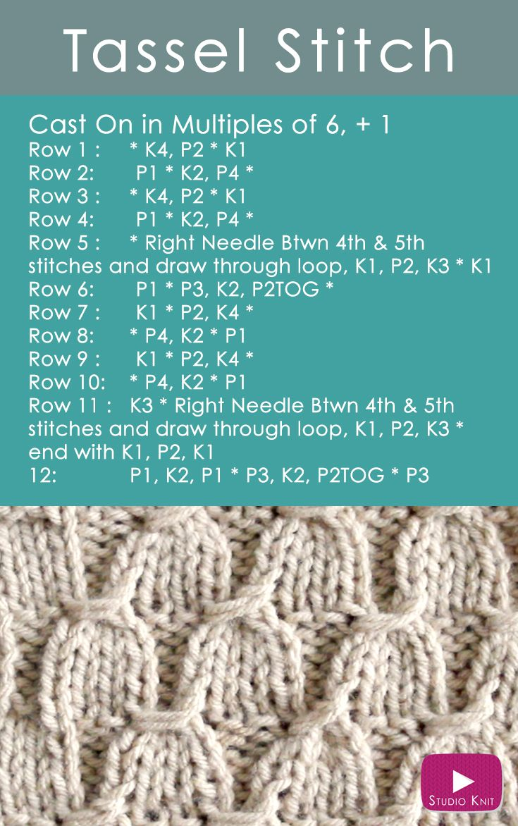 Learn how to Knit the TASSEL Stitch Pattern: Receive Free Knitting Pattern + Video Tutorial via @StudioKnit