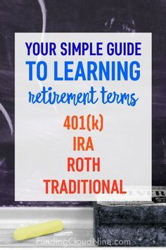 Totally confused about all those retirement terms? Feeling out of the loop? You NEED to check out this simple explanation and comparison of retirementsavings plans. 401k vs IRA. Traditional vs Roth.
