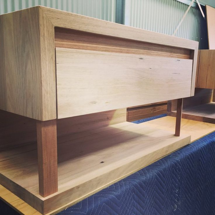 timber vanity with drawer and shelf
