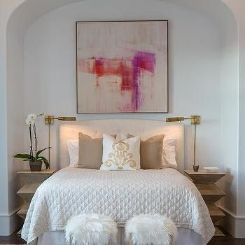 Arched Bed Nook with White Tufted Headboard