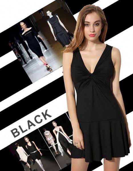 ACEVOG Fashion Women Sleeveless Sexy V-Neck Slim Pleated Mini Dress