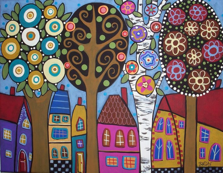 Folk Art Trees in Bloom Karla Gerard Canvas by KarlaGerardFolkArt