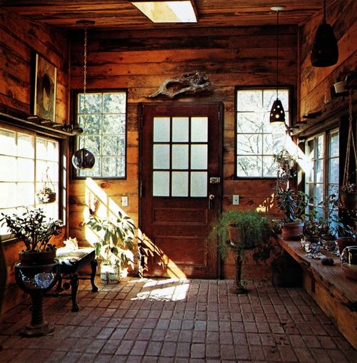 .: Brick Floors, Cabins Mudroom, Spaces, Idea, Handmade Houses, Woodstock Handmade, Mud Rooms, Wooden Doors, Pots Sheds