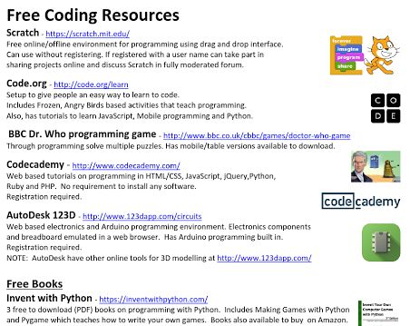 A list of free online games, tools, guides, videos to assist kids of all ages to learn programming and electronics