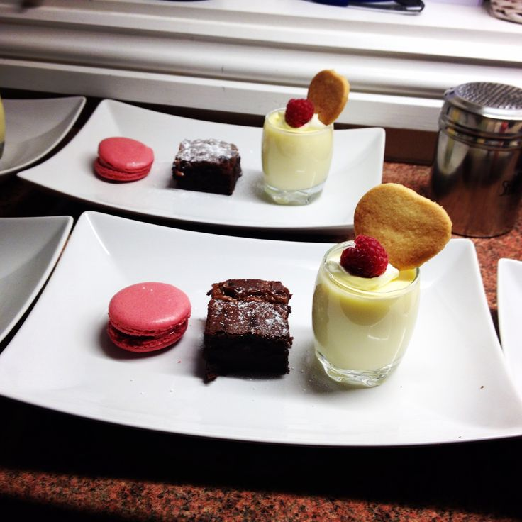 Trio of desserts... Limoncello posset with ginger shortbread/ salted caramel brownie/strawberry macaron