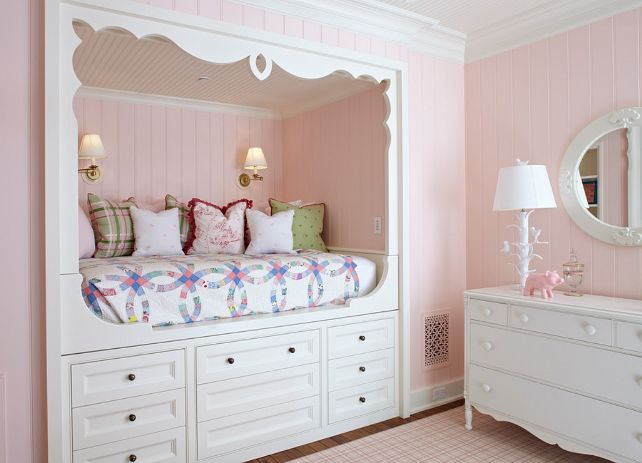 Girl's Bedroom   The paint color is Sherwin Williams SW 6595 Armour Pink