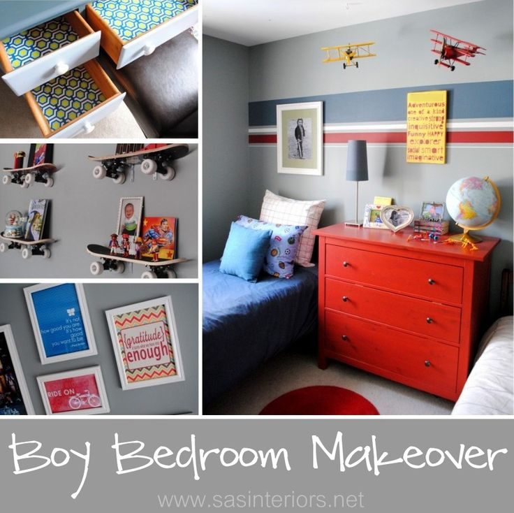 Boy Bedroom Makeover with bold colors and patterns by @jenna_burger for www.sasinteriors.net