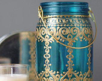 Tarro grande 32 oz Linterna marroquí el cristal azul por LITdecor