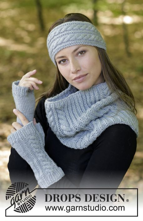 Catch Me If You Can / DROPS 182-19 - The set consists of: Knitted head band, neck warmer and wrist warmers with false Fisherman's Rib and cables. The set is worked in DROPS Karisma.