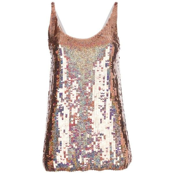 Stella McCartney Sequinned Tanktop featuring polyvore, fashion, clothing, tops, pink, scoop neck top, sequin tank top, low back tank, pink tank and low back top