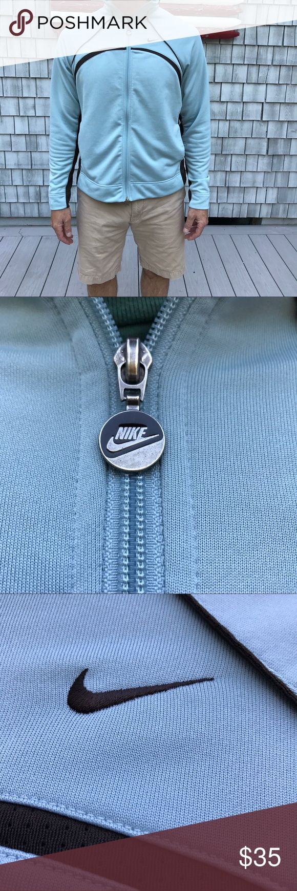 Nike Sport Jacket EUC light blue and brown trimmings. Brown mesh panels on sides. Says XXL works well for Large XL Nike Jackets & Coats Performance Jackets