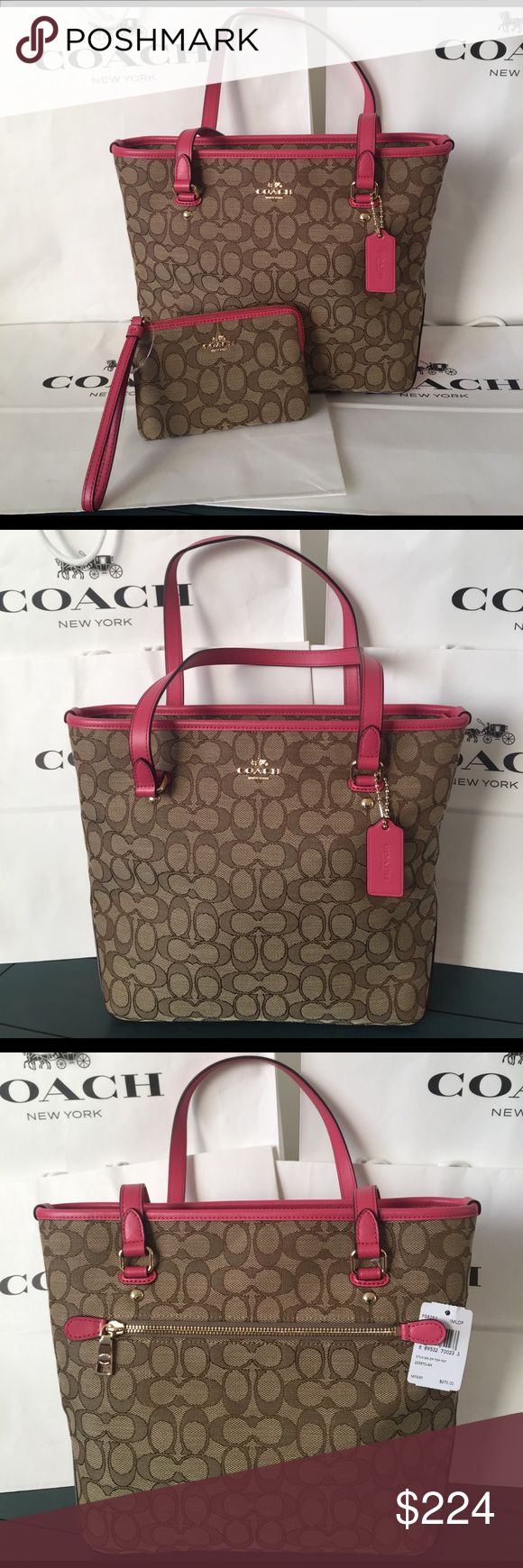"""💖 Coach Tote Bag and Wristlet Set 100% Authentic Coach Bag. Color Brown/Strawberry. Set Includes bag and matching wristlet. Straps with 9"""" drop. Coach Bags Totes"""