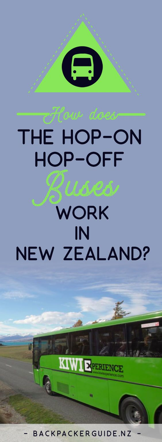 How to use the hop-on hop-off bus in NEw Zealand.  Hop-on hop-off: it's as swift as the movement suggests. This bus concept works particularly well for backpackers and working holidaymakers who want to see the whole of New Zealand at their own leisure with maximum fun. Hop-on hop-off buses are flexible tours allowing you to hop on the bus and hop off the bus almost whenever you like, so you can shape your bus journey around your desired trip. But how does the hop-on hop-off bus in New…