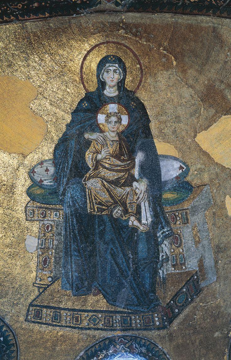 Virgin (Theotokos) and Child enthroned, apse mosaic, Hagia Sophia, Constantinople (Istanbul), Turkey, dedicated 867.