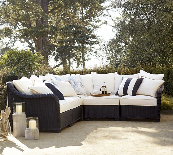 Palmetto All Weather Wicker Sectional Set   Black | Pottery Barn. Garden  Furniture ...