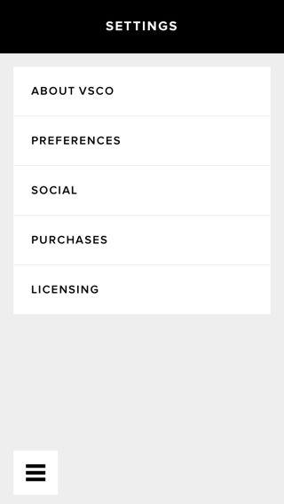 VSCO iPhone settings screenshot
