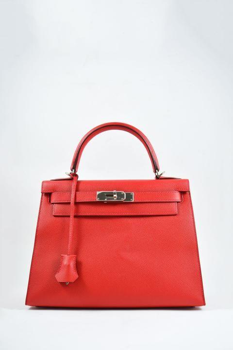 0f8edc4911c Hermès Kelly 28 Sellier 2016 Vermillion Epsom Leather Palladium Hardware -  Half | SHOP OUR BAGS in 2019 | Hermes kelly, Hermes, Bags