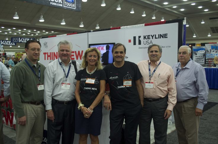 Massimo Bianchi, Keyline Strategic Planner, and Mariacristina Gribaudi, Keyline Chairwoman, together with Hy-Ko team at Keyline USA stand in Baltimore, Maryland, USA during ALOA Convention 2013