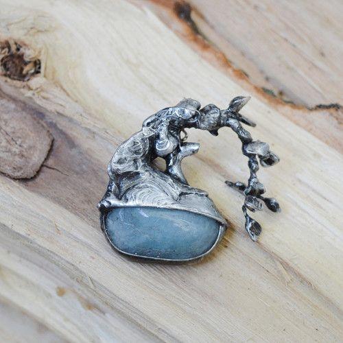 Jewellery Broche aquamarine and a mixture of metals