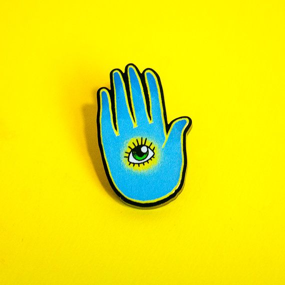 blue all seeing eye hand  lapel pin by dannybrito on Etsy