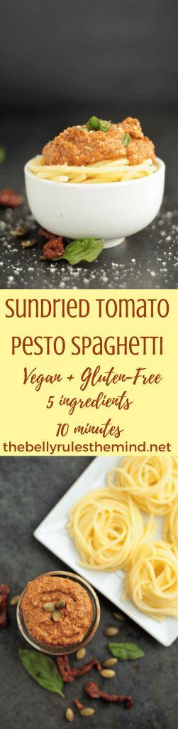 OurVegan Sundried Tomato Pesto Spaghetti is just what you need for a quick weeknight dinner. 5 simple ingredients. 10 minutes. Gluten-Free.#SoDelicious #ad#SDOrganicAlmondmilk |@bellyrulesdmind @sodelicious #vegan #glutenfree #5 ingredients #10minutes #spaghetti #pasta #recipe #pesto