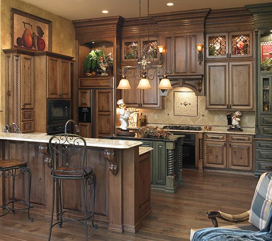 Dark Stained Kitchen Cabinets: Med. Brown Stain/distressed Look. Floors, Very Similar