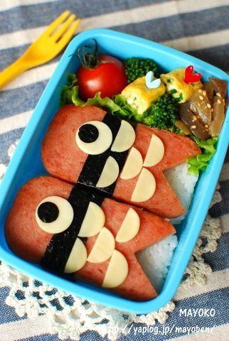 【簡単レシピ】こいのぼりスパムおにぎりのお弁当 :: まよ子のキャラ弁日記 yaplog!(ヤプログ!)byGMO
