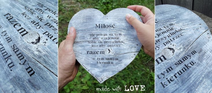 Heart from reclaimed wood, with love-related quote.