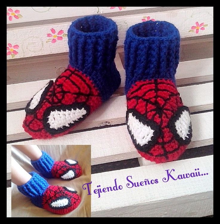 Slippers crochet...spiderman.