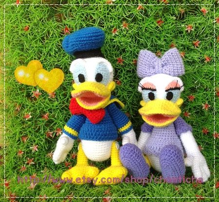 Amigurumi Finger Puppets Free Pattern : Donald duck and Daisy duck 8.5 inches - PDF amigurumi ...