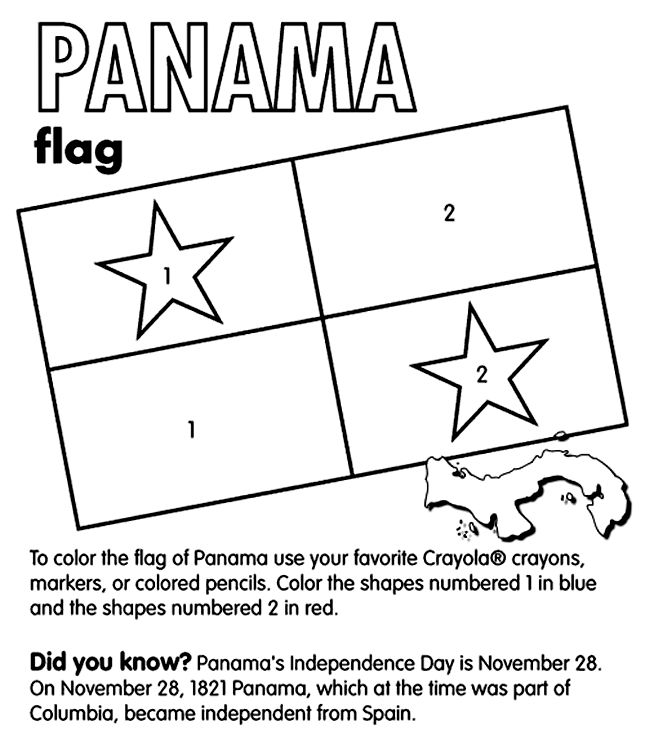Use Crayola® crayons, colored pencils, or markers to color the flag of Panama. Color the shapes numbered 1 blue and the shapes numbered 2 red. The rest of the flag should be white.   Did you know?  Panama is located in Central America. Its Independence Day is November 28. On that day in 1821 Panama, which at the time was part of Columbia, became independent from Spain.