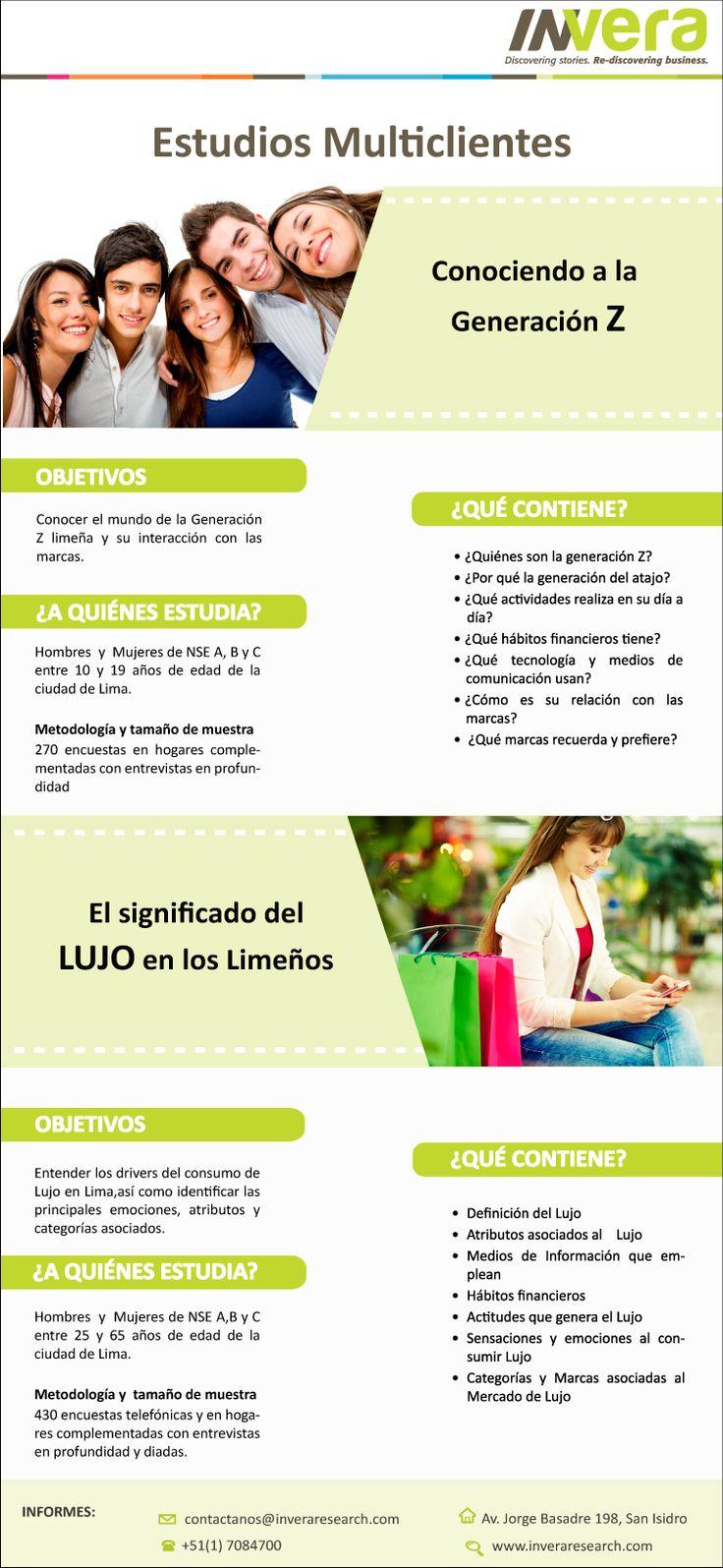 Estudios Multicliente: Conoce a la generación Z y el significado de Lujo en Lima.  CONTACTENOS: email: contactanos@inveraresearch.com telefono: (51)7084700 web: http://www.inveraresearch.com/multiclientes-invera/