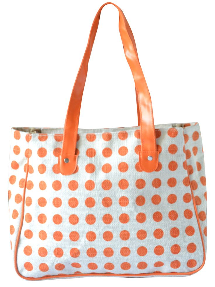 #polkadots will never be out of fashion #jutehandbag. Get it @ www.earthenme.com