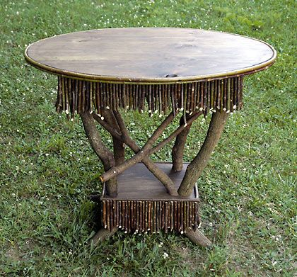 around the bend willow furniture :: funky round table :: Tables & Shelving