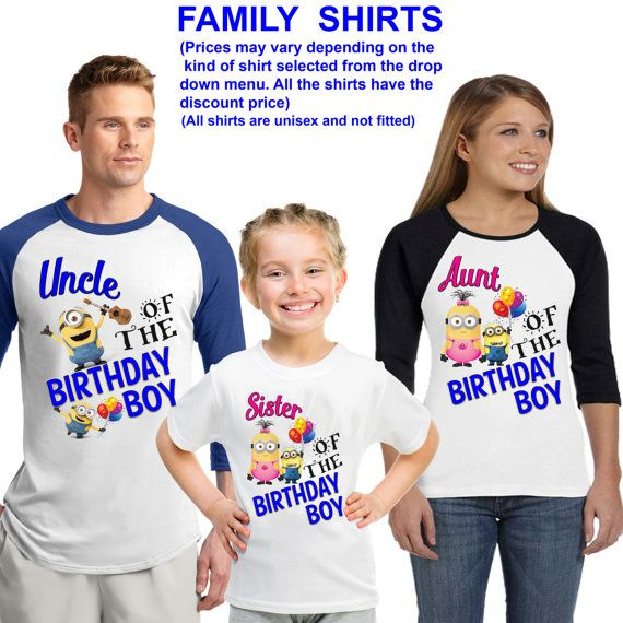 Minion birthday shirt / Minion shirt /family matching shirts/ Minion birthday party shirt /Minion / family shirts/Minions  AT CHECK OUT PUT THE CHILDS NAME AND AGE YOU WOULD LIKE ON THE SHIRT IN NOTES TO SELLER.  Additional Coupons Codes  discount05 for an additional 5% for for a