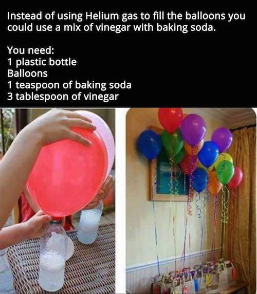 Use Vinegar And Baking Soda To Make Floating Balloons balloons diy diy ideas…
